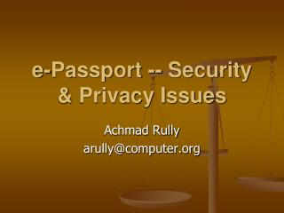e-Passport -- Security & Privacy Issues