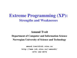 Extreme Programming (XP): Strengths and Weaknesses