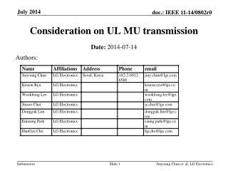 Consideration on UL MU transmission