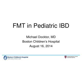 FMT in Pediatric IBD