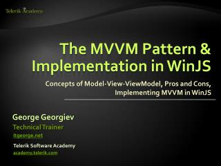 The MVVM Pattern & Implementation in WinJS