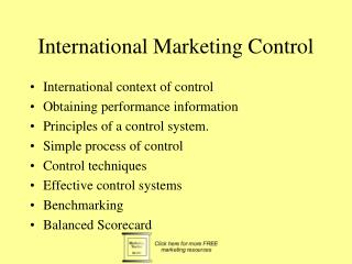 International Marketing Control