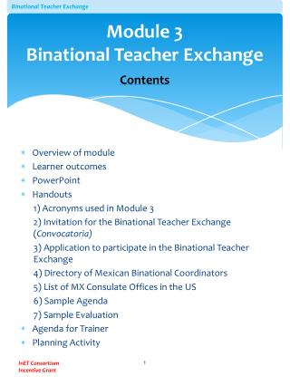 Module 3 Binational Teacher Exchange Contents