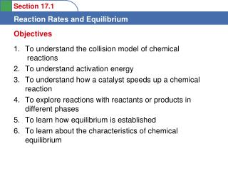 To understand the collision model of chemical   reactions To understand activation energy