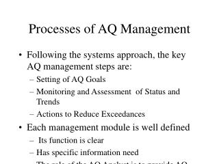Processes of AQ Management