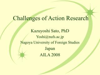Challenges of Action Research