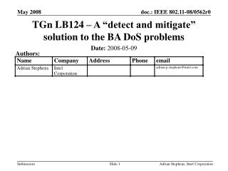 "TGn LB124 – A ""detect and mitigate"" solution to the BA DoS problems"