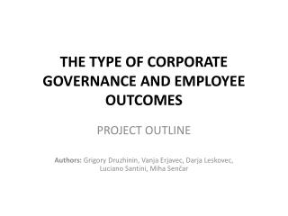 THE TYPE OF CORPORATE GOVERNANCE AND EMPLOYEE OUTCOMES