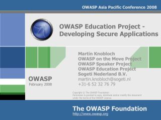 OWASP Education Project -Developing Secure Applications
