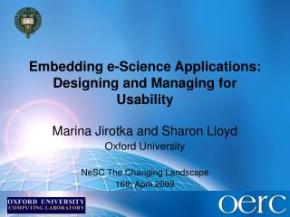 Embedding e-Science Applications: Designing and Managing for Usability