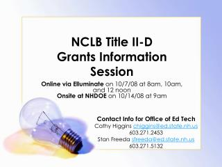 NCLB Title II-D  Grants Information Session