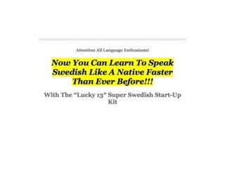 Learn Swedish Super Fast And Easy