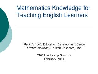 Mathematics Knowledge for Teaching English Learners