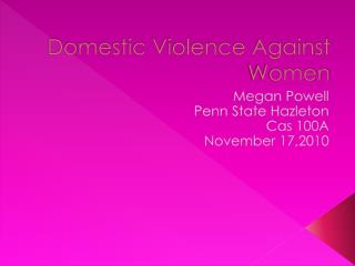Domestic Violence Against Women