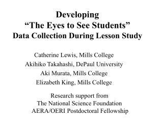 "Developing  ""The Eyes to See Students"" Data Collection During Lesson Study"