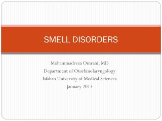 SMELL DISORDERS