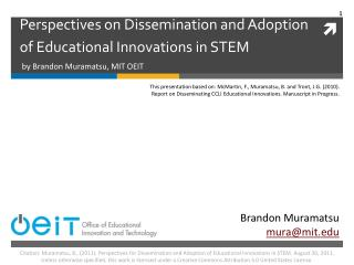Perspectives on Dissemination and Adoption of Educational Innovations in STEM