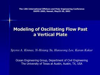 Modeling of Oscillating Flow Past a Vertical Plate