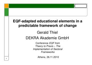EQF-adapted educational elements in a predictable framework of change
