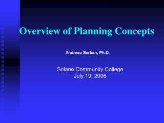 Overview of Planning Concepts