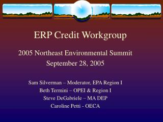 ERP Credit Workgroup