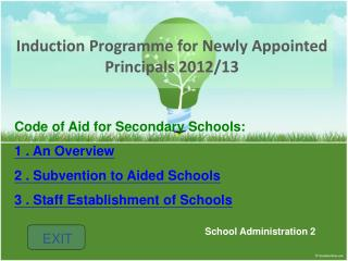 Induction Programme for Newly Appointed Principals 2012/13