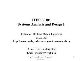 ITEC 3010: Systems Analysis and Design I