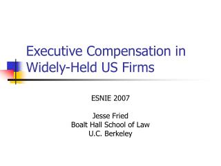 Executive Compensation in Widely-Held US Firms
