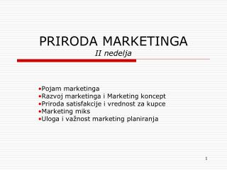 PRIRODA MARKETINGA II nedelja
