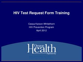 HIV Test Request Form Training