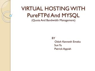 VIRTUAL HOSTING WITH  PureFTPd  And MYSQL