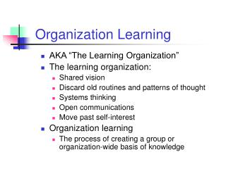Organization Learning