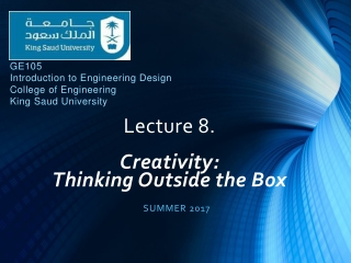 Lecture 8. Creativity: Thinking Outside the Box