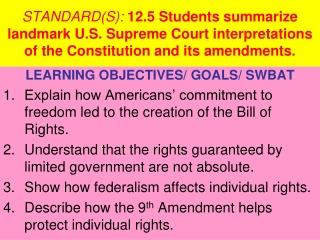 LEARNING OBJECTIVES/ GOALS/ SWBAT