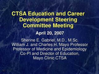 CTSA Education and Career Development Steering Committee Meeting