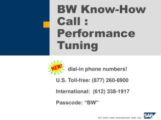 BW Know-How Call : Performance Tuning