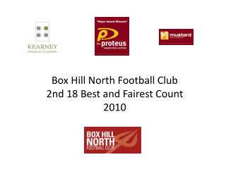Box Hill North Football Club  2nd 18 Best and Fairest Count 2010