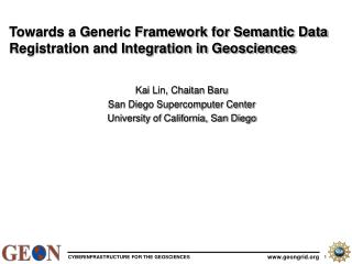 Towards a Generic Framework for Semantic Data Registration and Integration in Geosciences