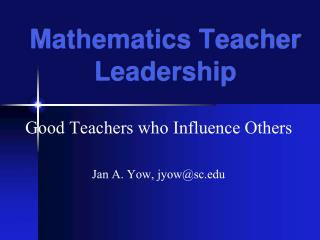 Mathematics Teacher Leadership