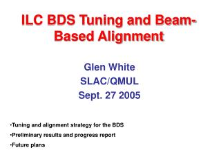 ILC BDS Tuning and Beam-Based Alignment