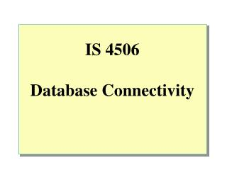 IS 4506 Database Connectivity