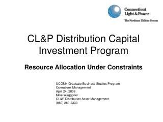 CL&P Distribution Capital  Investment Program