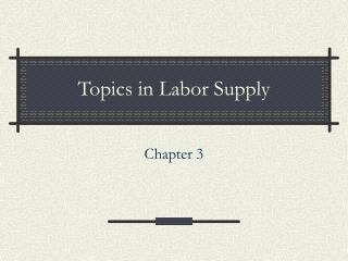 Topics in Labor Supply