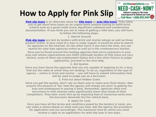 How to Apply for Pink Slip Loans