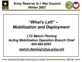 Army Reserve G-1 War Council Winter 2007