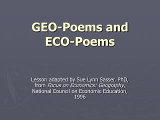 GEO-Poems and  ECO-Poems