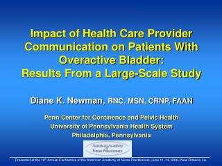 Impact of Health Care Provider Communication on Patients With Overactive Bladder:  Results From a Large-Scale Study