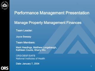 Performance Management Presentation Manage Property Management Finances