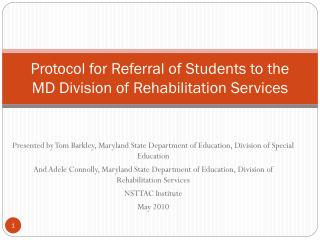 Protocol for Referral of Students to the MD Division of Rehabilitation Services