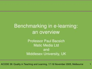 Benchmarking in e-learning: an overview